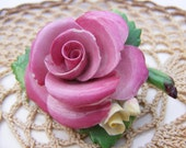 Vintage Cara English China Rose brooch Pink for wearing or assemblage