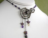 Amethyst Citrine and Garnet Sterling Silver Wire Wrapped Necklace ON SALE -- 20% OFF