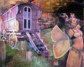 Butterfly Caravan, 8 x 10, Original Art, Gypsy Wagon, Belly Dance, Butterfly Wings, Sunset