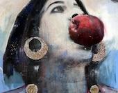 Rom Woman, Romani, Gypsy, Art Print, Unique Fine Art, Eve, Apple, Coins, Blue