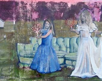 Unique, Fine Art, Original Art, Painting, Wood, Landscape, Bear, Bicycle, Portrait, Girls, Dresses, Vintage, Couch, Mint, Green, Spring