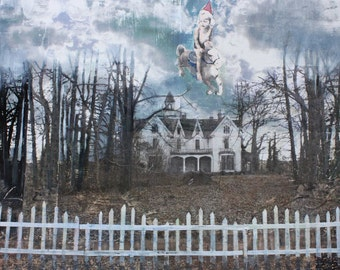 Art Print, Surreal, Dream, Abandoned House, Cloudy Sky, Rocking Horse Toy, Antique, Carousel Horse, Party Hat, White Picket Fence