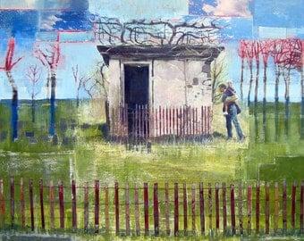 Abandoned Building, Leafless Tree, Fence, 8 x 8, Art Print, Unique Fine Art, Wall Decor