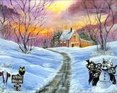 Christmas Halloween Folk art Winter scene print of original painting