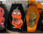 1 ooak paper mache coffin box monster hand painted