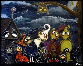 Halloween Folk art PRINT say Cheesy Spooky Hollow characters by Carmen Ellis