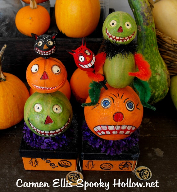 OOAK Vintage style Halloween paper mache candy container made to order