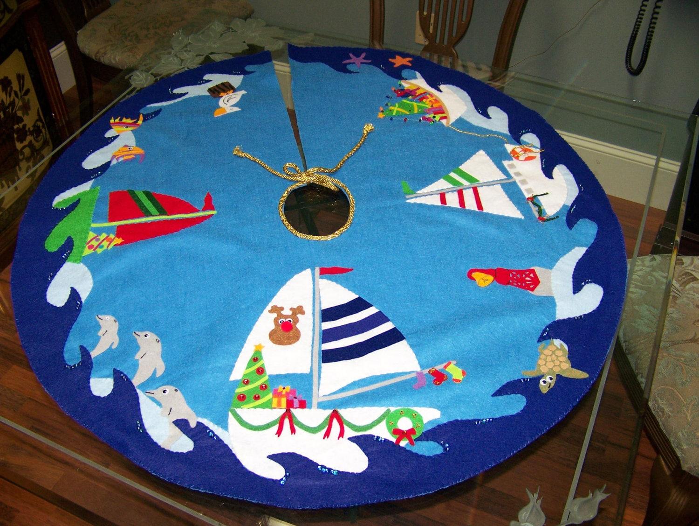 felt beach christmas tree skirt. Black Bedroom Furniture Sets. Home Design Ideas