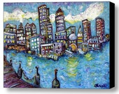 """Boston Harbor - Limited Edition 20"""" Wide x 14"""" Tall, Print on Stretched Canvas by NYC's J. Gluskin"""