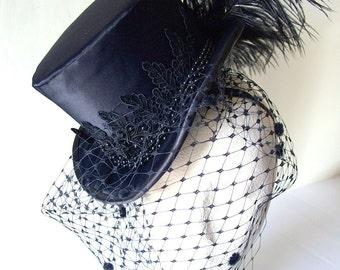 The Raven -  Black Satin Mini Top Hat