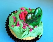 Glitter Heart Rings Favors/ Cupcake Toppers (12)