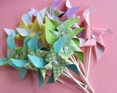 Playful Pink and Blue series Pinwheels Cupcake Toppers or decorations (12)