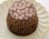 Damask Brown and Gold Cupcake Liners (50)