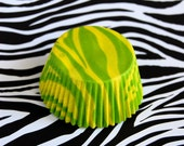 Yellow and Lime Green Tiger (or Zebra) Stripes Cupcake Liners (50)