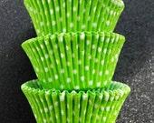 Jumbo Large Lime Green and White Polka Dot Cupcake Liners (25)