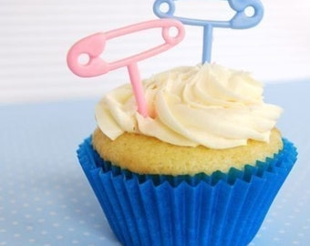 Pink and Blue Diaper Safety Pins Cupcake Toppers