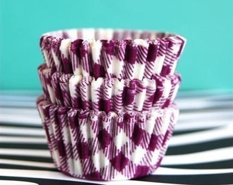 Mini Cupcake Liners 50  Purple and White Gingham Baking Cups