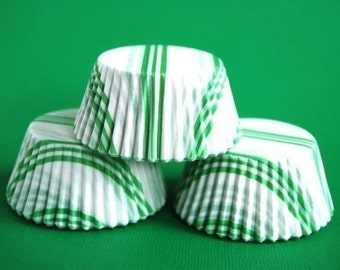 American Mini Cupcake Liners 50 Green and White striped