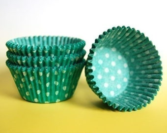 Green and  White Polka Dot Cupcake Liners (50)