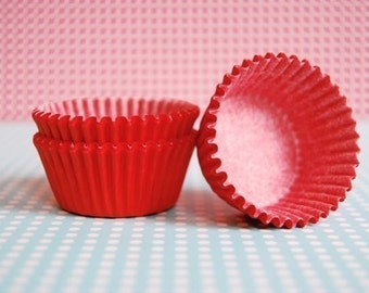 Mini Cupcake Liners 50 Solid Red Baking Cups