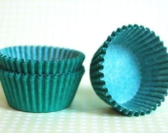 Mini Cupcake Liners 50 Solid Green Baking Cups