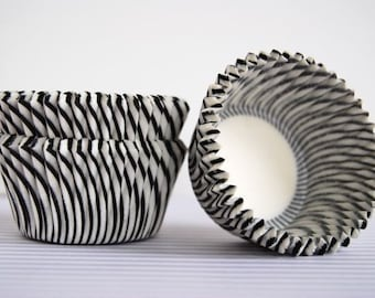 Black and White Stripe Cupcake Liners (50)