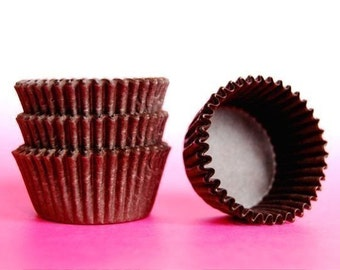 Mini Cupcake Liners 50 Brown Baking Cups