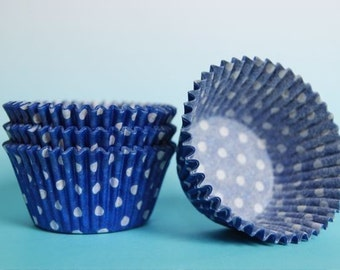 Blue and White Polka Dot Cupcake Liners (50)