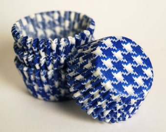 Mini Blue Houndstooth Cupcake Liners  or candy cups (50)
