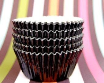 Fancy Black Foil Cupcake Liners (50)