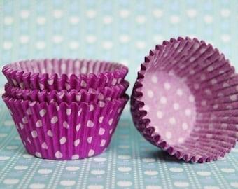 Purple and  White Polka Dot Cupcake Liners (50)