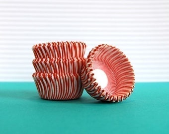 MINI  Red and White Stripe Cupcake Liners (50)