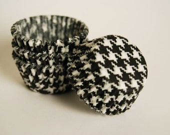 Mini Cupcake Liners Black Houndstooth 50