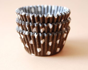 Mini Cupcake Liners 50 Brown and White Polka dot Baking Cups
