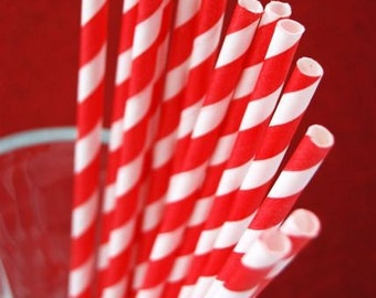 Bright Red and White Paper Straws and PDF Printable Party Flags