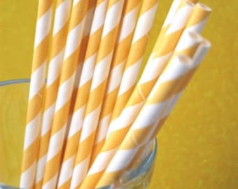 PALE Yellow Striped Paper Straws and PDF Printable Party Flags