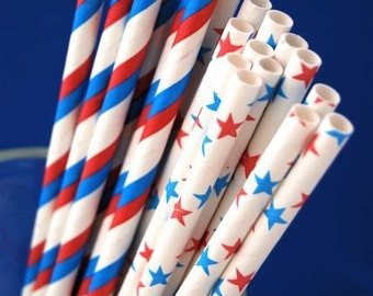 Stars and Stripes Paper Straws and PDF Printable Party Flags