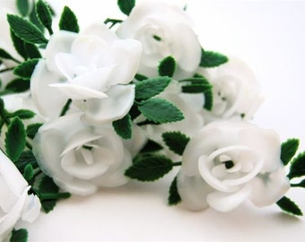 White Plastic Flower Cupcake toppers (12)