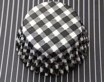 Black and White Picnic Cupcake LIners (50)