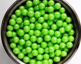 Lime Pearl Candy Beads- Edible Cupcake Decorations (2 ounces)