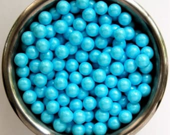 Baby Blue Pearl Candy Beads- Edible Cupcake Decorations (2 ounces)