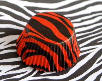 Red Tiger Stripes Cupcake Liners (50)