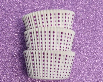 Purple Royal Dots on White  Cupcake Liners (50)