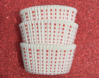 Red Royal Dots on White  Cupcake Liners (50)