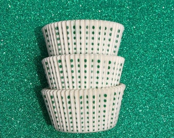 Green Royal Dots on White  Cupcake Liners (50)