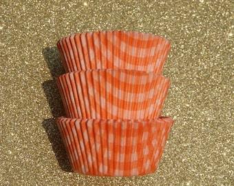 Orange Gingham Cupcake Liners (50)
