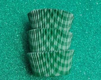 Green Gingham  Cupcake Liners (50)