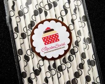 BULK Black Polka Dots Paper Straws and Sprinkles (100)