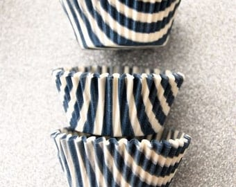 Blue Steel Candy Stripe Cupcake Liners (50)