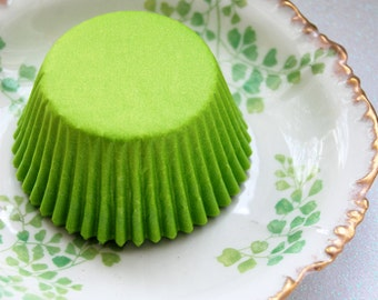 Mini Cupcake Liners Solid Lime 50